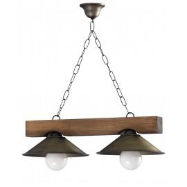 Gran oferta lampara rustica con pantallas de metal 2 Luces.