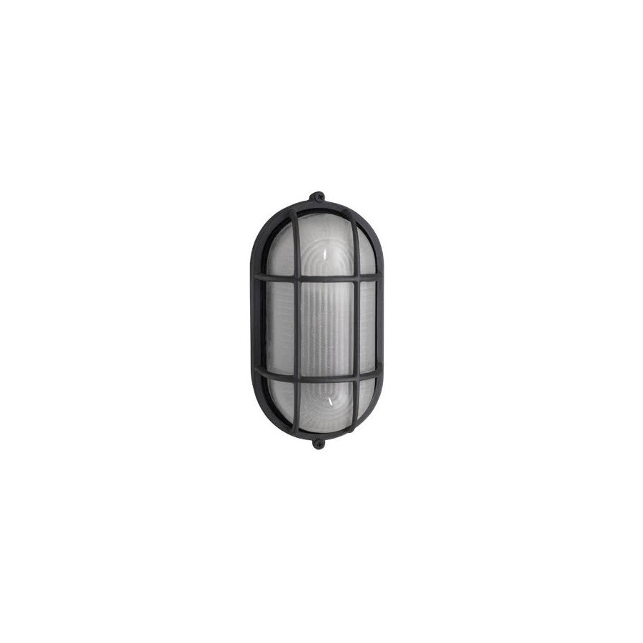 Aplique Exterior Oval Tortuga Negro 1xe27 (11x20)
