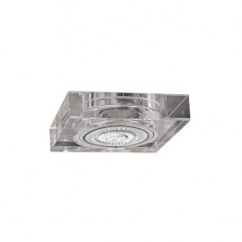 Empotrable Cristal Serie Landa 1xgu10 Cuadrado 9x9 Grosor 2cm Transp.