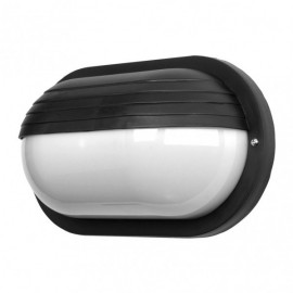 Aplique Ext.oval Canopus 1xe27 Policarb.negro Ip44 10x26x15 Cm