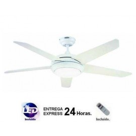 Lampara ventilador blanco 132cm. Incluye MANDO A DISTANCIA y LED.