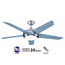Lampara ventilador niquel 132cm. Incluye MANDO A DISTANCIA y LED.