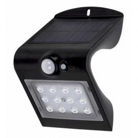 Aplique Solar 1,5w 4000k6000k Solaris Negro 220lm Ip65 Carga Solar Sensor Movil Y Luminic