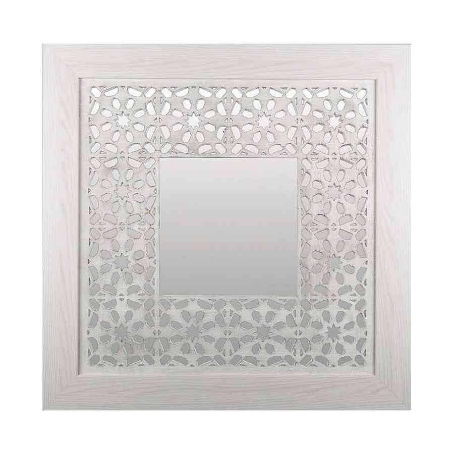 Espejo cuadrado celosia-blanco modelo VECTOR70