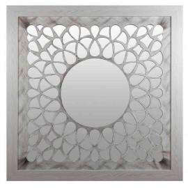 Promocion en espejo circular decorativo VECTOR con marco cuadrado