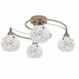 Lampara 4 luces cobre-cristal