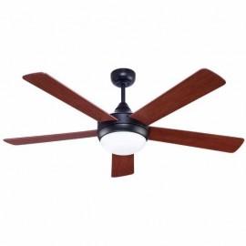 Ventilador Biruji Marron Rustico 2xe27 5 Aspas  Nogal/cerezo 43,5x130d Control Remoto