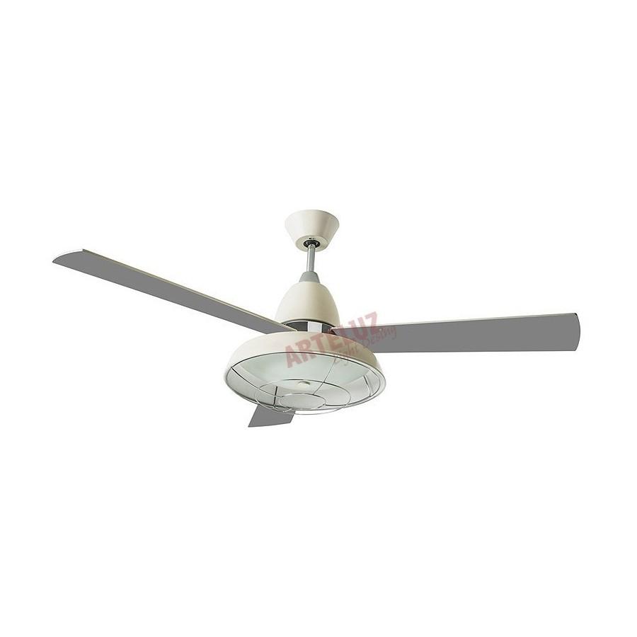 Ventilador de techo 132cm modelo VINTAGE blan3co roto 3 velocidades reversibles. Mando a distancia.