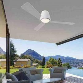 Ventilador para exterior con led integrado 132cm modelo GARBI BLANCO, aspas transparentes y motor DC.