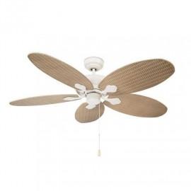 Novedad ventilador de techo 132cm sin luz modelo PHUKET BLANCO roto aspas de ratan sintetico, 3 velocidades reversibles.