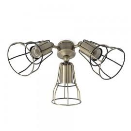 Kit de luz ventilador Yakarta acabado oro envejecido de Faro