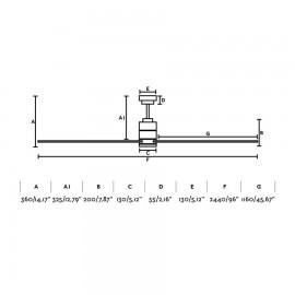 Ventilador Faro MANHATTAN extragrande 244 con motor DC, y led integrado 16w