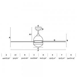 Ventilador Faro modelo TABARCA  BLANCO 3 PALAS 2xE27