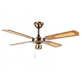Ventilador de techo sin luz 105 cm. 4 aspas  modelo SALOBREÑA cuero satinado.