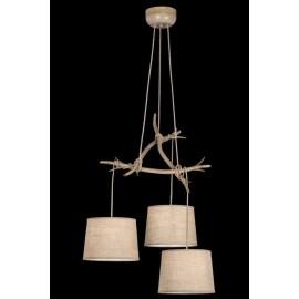 Lámpara Forja Cuero 3 luces  44x64