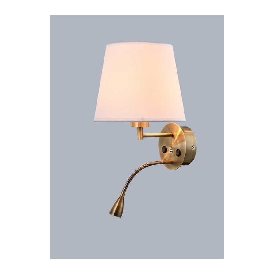 Aplique E27+LED+Cargador USB SERIE CAICOS ACABADO Antique Brass