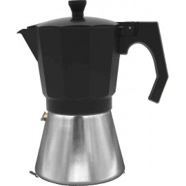 Cafetera para induccion MOKKA 6 tazas negro-aluminio de Bastilipo