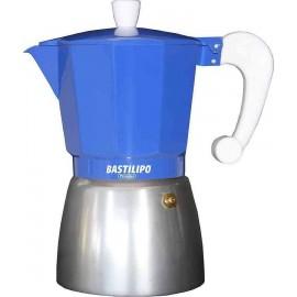 Cafetera azul-aluminio COLORI 3 tazas Bastilipo