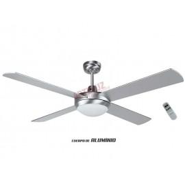 Ventilador de techo aluminio con mando a distancia y 132cm.