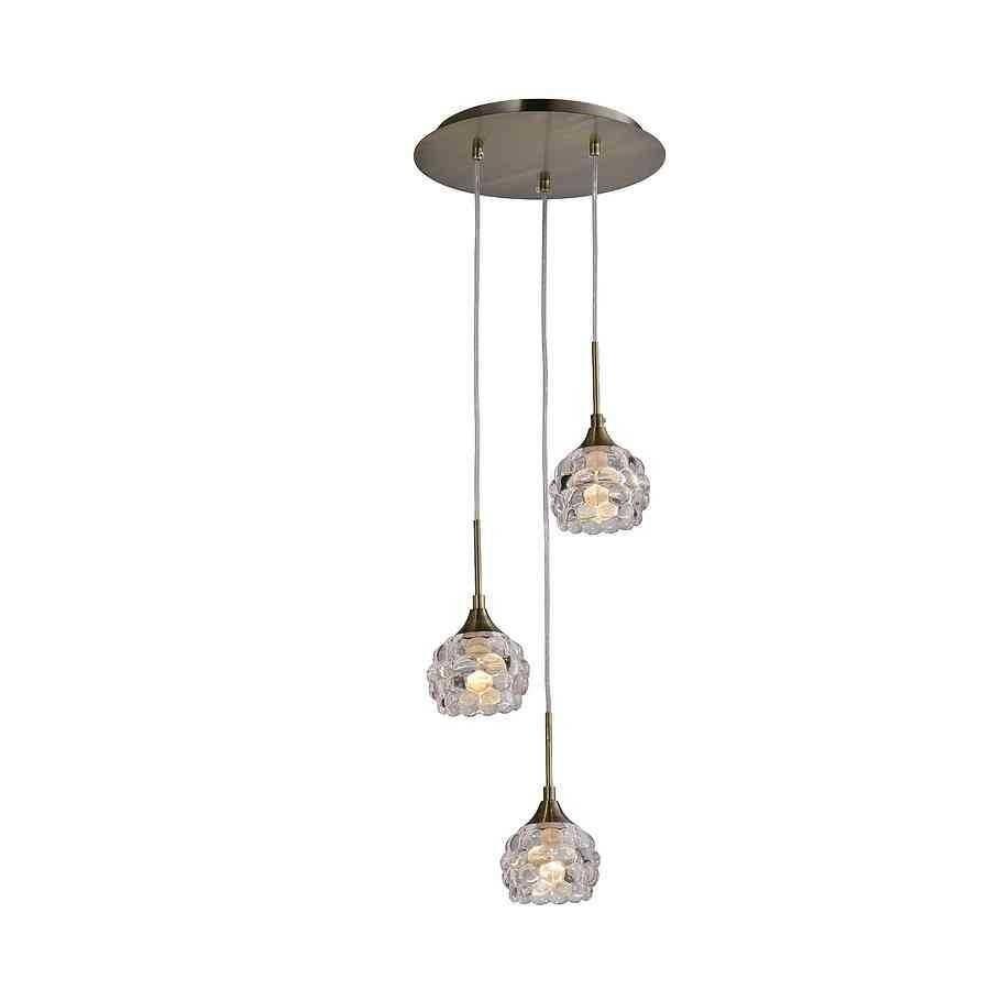 lampara 3 colgantes BUBBLES cuero-cristal