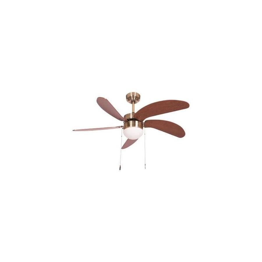 Ventilador Cuero Cibeles 5 Aspas Cerezo/nogal 1xe27 40x107 D