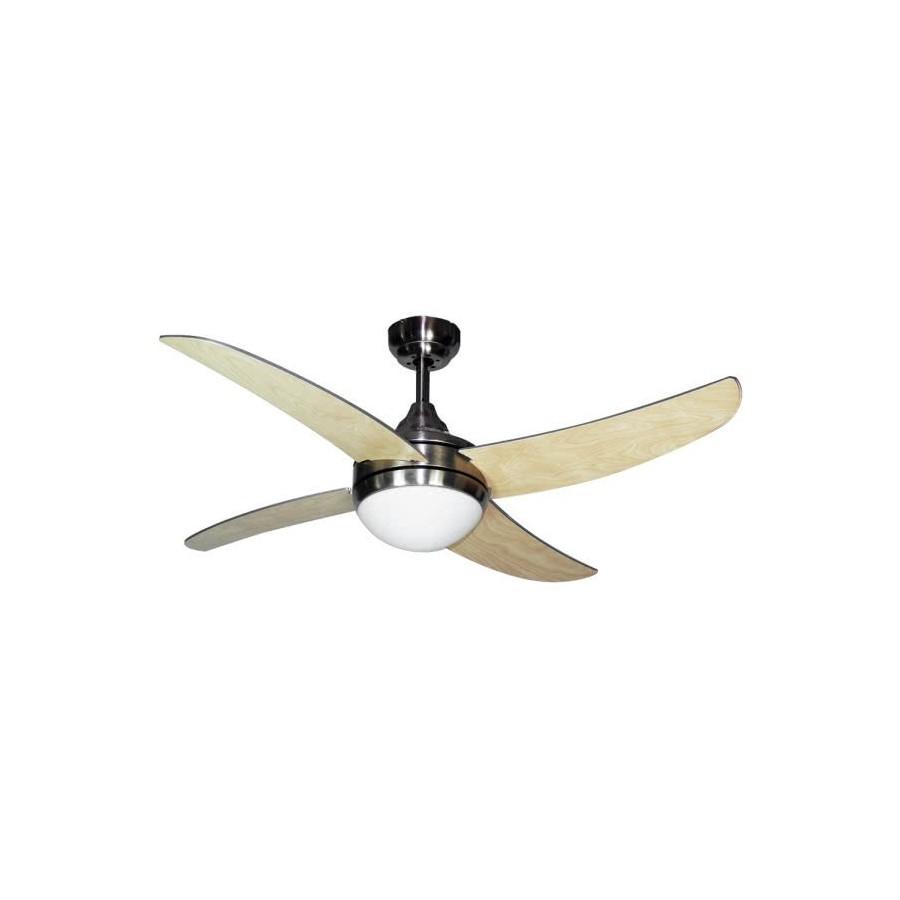 Ventilador Niquel Osiris 4 Aspas Haya 2xe27  45x116d  Control Remoto