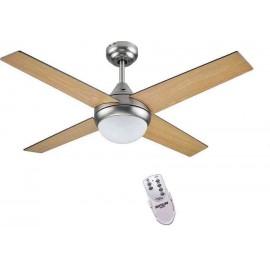 Ventilador MOJACAR niquel con luz 105 cm.