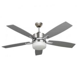 Ventilador Niquel Menfis 5 Aspas Plata/haya 2xe27 46x132d Control Remoto
