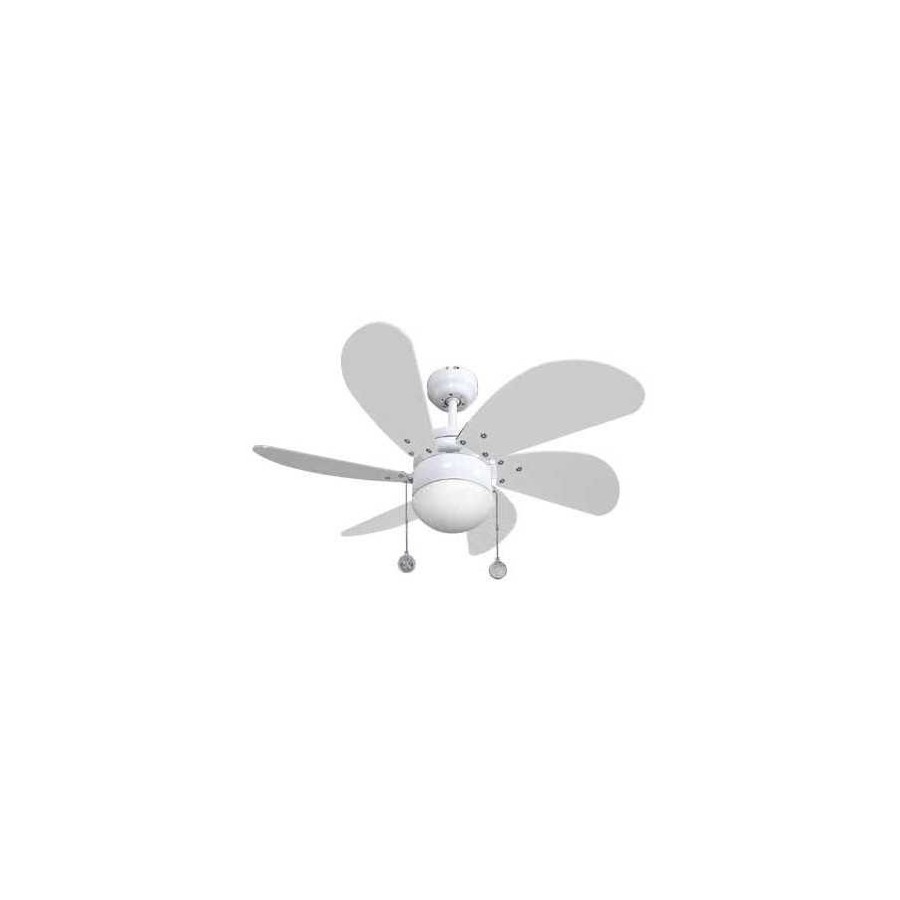 Oferta lampara ventilador 77cm. Con luz y acabado blanco. Delfin.