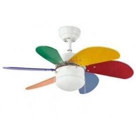 Oferta lampara ventilador 77cm. Con luz y acabado Multicolor. Delfin.