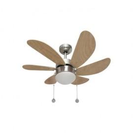 Oferta lampara ventilador 77cm. Con luz y acabado niquel haya. Delfin.