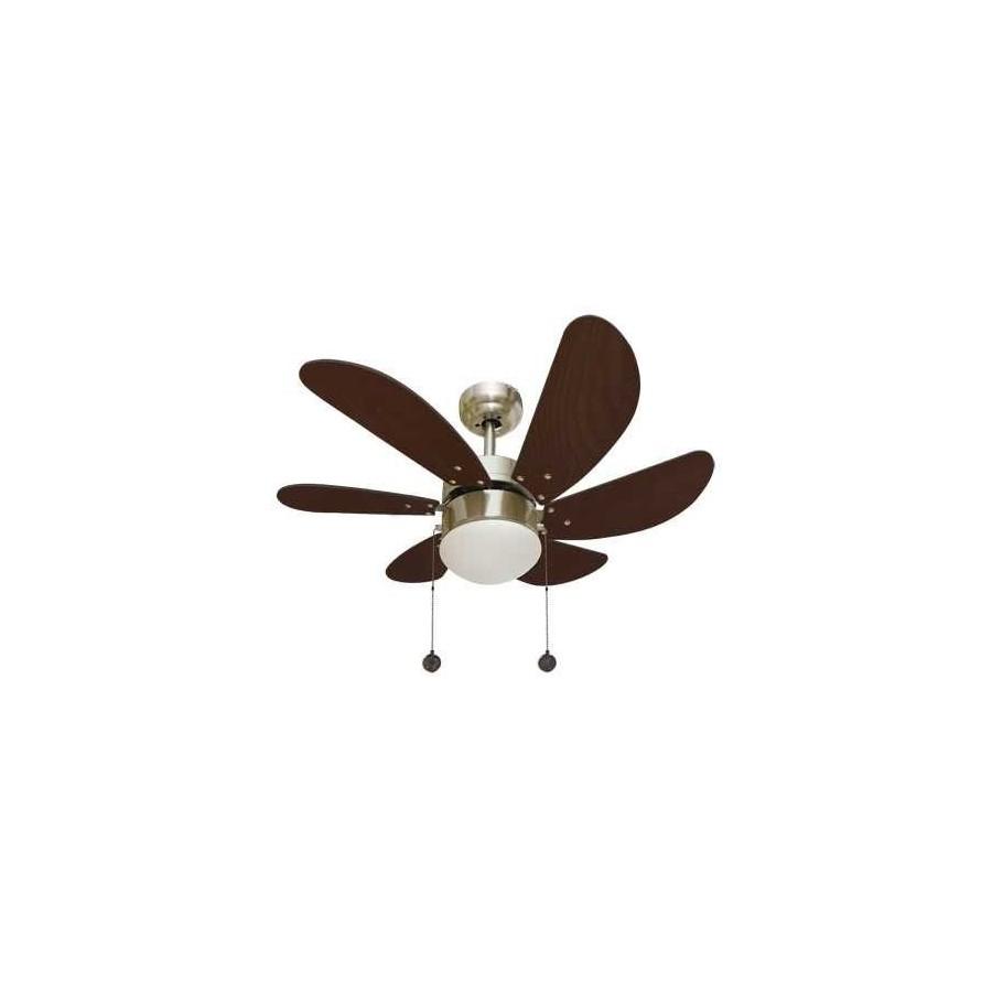 Oferta lampara ventilador 77cm. Con luz y acabado oro viejo. Delfin